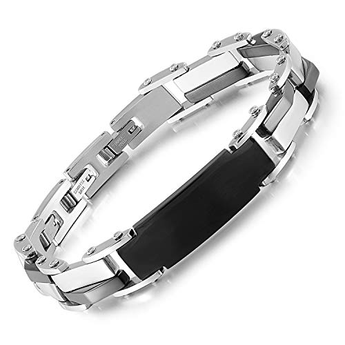 QLEESI Mens Bracelet Stainless Steel Chain, Men Jewelry Black and Sliver Link Bracelets with High-end Design Cuff Bangles Gift for Father Day
