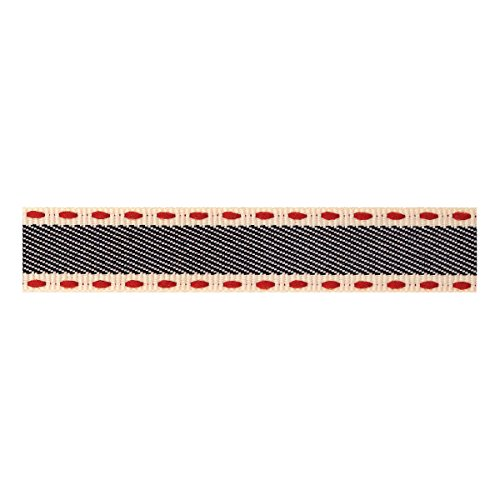 Berisfords Black Stitched Edge Denim 15mm Ribbon on a 4m Reel (Natural Charms Range)