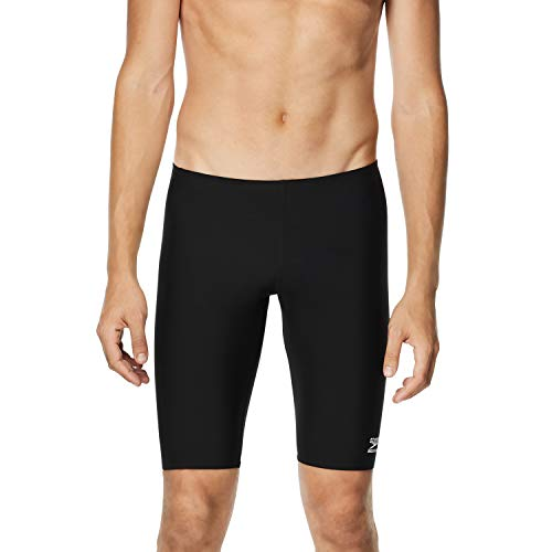 Speedo Men's Endurance+ Solid Jammer Swimsuit, Black, 38