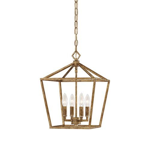 251 First Kenwood Vintage Gold Four-Light Lantern Pendant from 251 First
