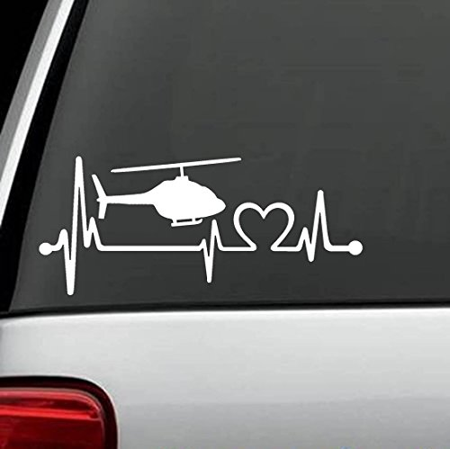 K1165 Helicopter Heartbeat Lifeline Decal Sticker