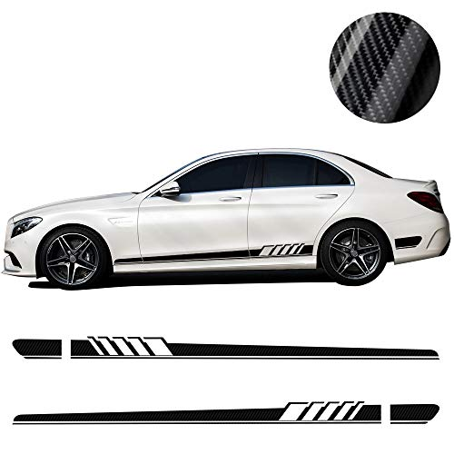 2 Pieces 5D Carbon Firbre AMG Edition C63 Edition 1 Side Racing Stripe Skirt Decals Stickers for Mercedes Benz C Class W205 C180 C200 C230 C280 C300 C320 C350 C63 AMG (5D Carbon Fibre)