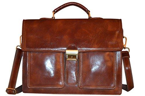Cartable 3 soufflets en Cuir Véritable italien pour Homme Business, Sac porté main Marron, Grand Sac porté épaule pour Laptop 15 pouces
