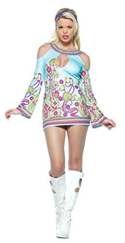 Leg Avenue Womens Groovy Go Go Retro Hippy Outfit Fancy Dress Sexy Costume, S/M -