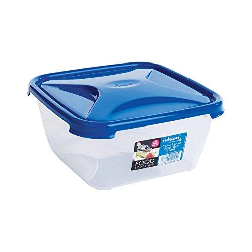 Wham Cuisine Square Food Storage Plastic Container, 2 Litre, Blue