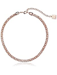 """Anne Klein""""Classic Rose"""" Rose Gold Tone Crystal Tubular Strand Necklace, 16"""""""