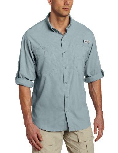 Columbia Mens Plus Tamiami II Long Sleeve Shirt, Light Metal - Large