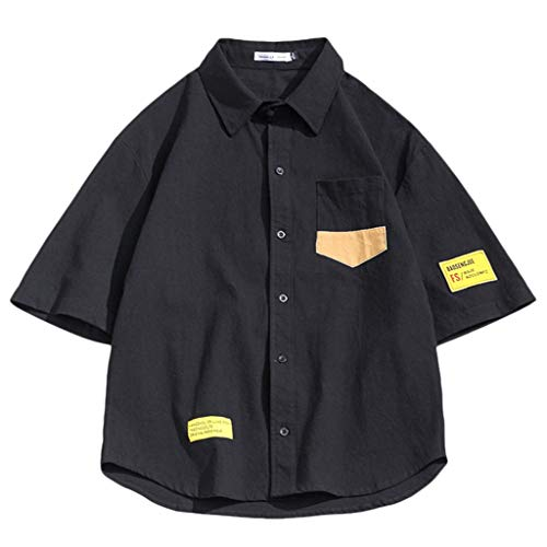 Shirts for Men Big and Tall,SMALLE◕‿◕ Mens Linen Breathable Men's Wrinkle Free Short Sleeve Button Down Check Shirt Black ()