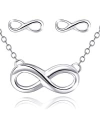 """Infinity Necklace Earrings Set,Mouttop Forever Love Rhodium-Plated ,925 Sterling Silver 16+1"""" Extender"""