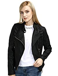 Bellivera Spring Womens Faux Leather Short Jacket