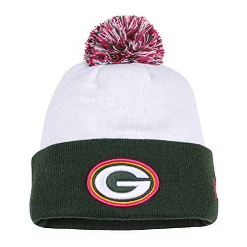 New Era NFL 2014 Green Bay Packers White Breast Cancer Awareness Knit Pom Beanie  Hat 64fa08be7
