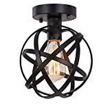 Globe Ceiling Light Fixture, SEEBLEN Semi-Flush Mount Ceiling Light with Mini Metal Cage, Hanging Light Fixture for Foyer Hallway Stairway Porch Bedroom Kitchen Farmhouse(Black)