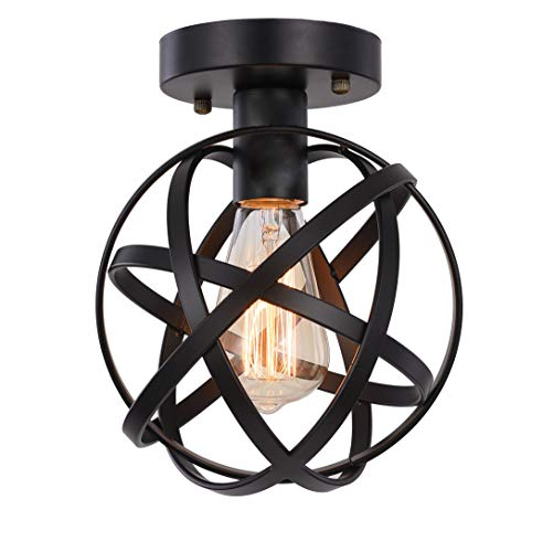 Metal Globe Ceiling Light SEEBLEN Semi-Flush Mount Pendant Ceiling Light with Mini Metal Cage Ceiling Lighting Fixture for Foyer(Black) ...