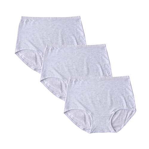 YLQHT Women's Cotton Underwear Panties Solid Color Stretchy Soft Breathable High Rise Briefs Plus Size (XL/8, 3 Pack White)