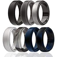 ROQ Silicone Wedding Ring for Men, 4 Packs & Singles Silicone Rubber Wedding Bands - Step Edge Sleek Design - Metallic, Black and Camo Colors