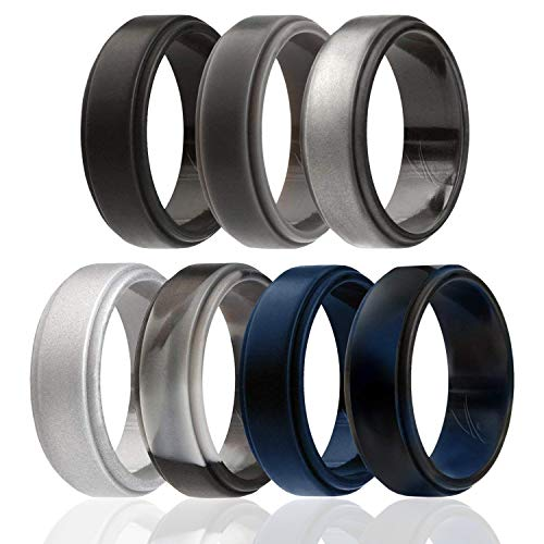ROQ Silicone Wedding Ring for Men, 7 Pack Silicone Rubber Band Step Edge - Black, Grey, Silver, Beveled Metalic Platinum, Black, Blue, Camo, Blue - Size 11
