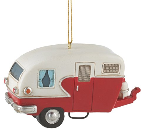 Midwest-CBK Camper Trailer Resin Hanging Christmas Ornament - Size 3.5 in. (1) (Camper Ornament Vintage Christmas)