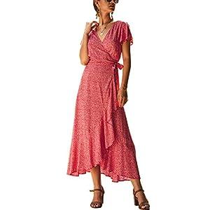 ECOWISH Women's Bohemian Floral Printed Wrap V Neck Short Sleeve High Split Beach Party Maxi Dress