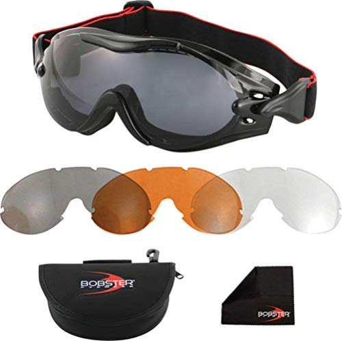 Bobster Phoenix OTG Interchangeable Goggles, Black Frame/3 Lenses (Smoked, Amber and Clear) (Atv Molded)