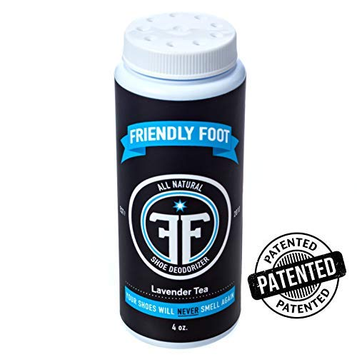 Friendly Foot All Natural Shoe Deodorizer Disinfectant Powder, 4 Ounce Bottle Lavender Tea Tree Essential Oil Scent, Eliminate Stinky Smelly Feet Odor Bacteria. Your Shoes Will Never Smell Again!