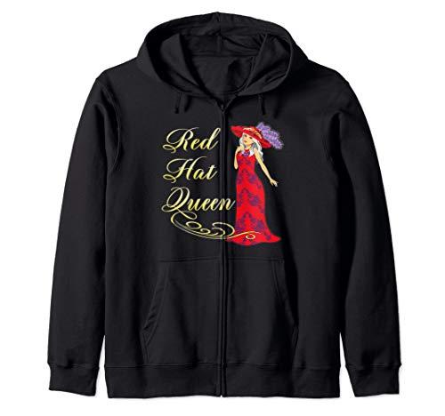 (Red Hat Society Queen Vintage Red Dress Gift Zip Hoodie)