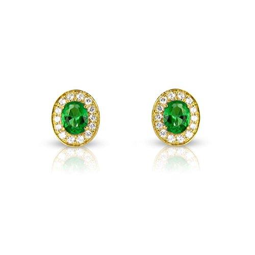 Tousmesbijoux Boucles d'oreilles en Or jaune 750/00 diamants et émeraudes