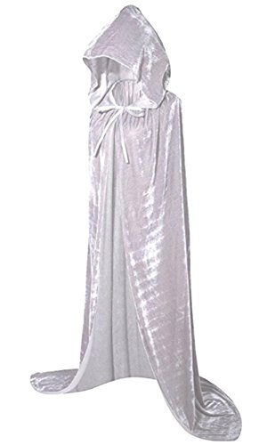 Ancefine Unisex Adult Full Length Hooded Cape Costume Cloak for Halloween (White Cape Costume)