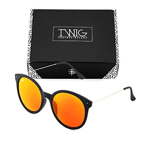 Naranja Negro de redondo sol Gafas TWIG espejo mujer REMBRANDT 80x7q