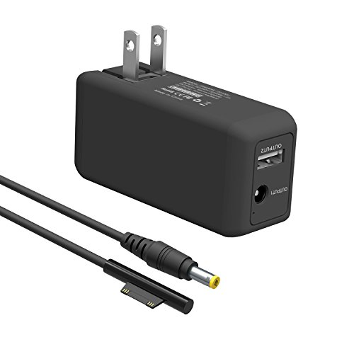 BND Microsoft Surface Pro Charger, 65W Portable Mini Charger for Microsoft Surface Pro 3 4 5 6 2017 Tablet/Surface Laptop/Surface Book/Surface Go, W/ 6.6ft Power Cord & USB Charging Port
