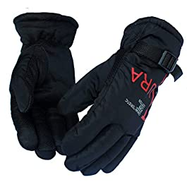 Frackson Black and Red Futura Warm Snow and Wind Proof Formal and Casual Winter Gloves for Men Boy Adult Protective Warm…