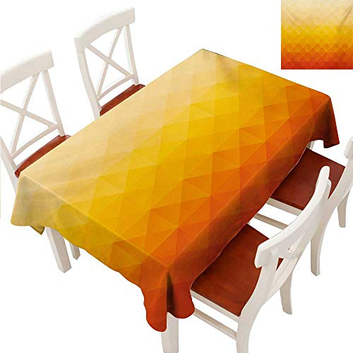 Pool Tablecloth Triangles (Abstract Rectangle Tablecloth Digital Triangle Geometric Mosaic Gradient Shades of Orange Poly Art Washable Polyester - Great for Buffet Table, Parties, Holiday Dinner, Wedding & More Red Vermilion M)