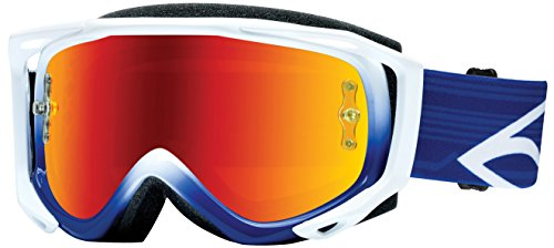 Smith Optics Fuel v.2 Sweat X M Motocross Goggles (White, Blue Frame/Red Mirror, Clear Lens) (Smith Goggles Fuel Goggle)