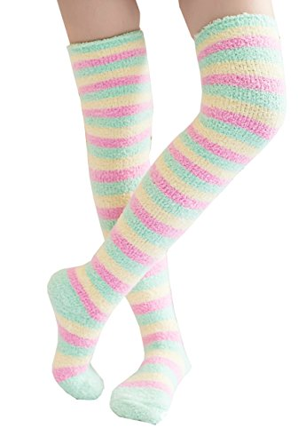 Knee High Socks Fuzzy Socks Women Winter Leg Warmers Print Long Stockings (04)