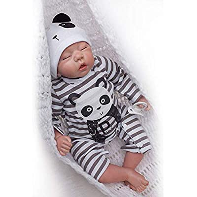 Nicery Reborn Baby Doll Soft Simulation Silicone Vinyl Cloth Body 20inch 50cm Magnetic Mouth Lifelike Vivid Boy Girl Toy for Ages 3+ Black and White Stripes Clothes RD50C501C-OTD: Toys & Games