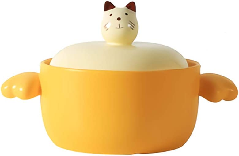4.0L Japanese Casserole with lid, Ceramic Dutch Oven,Cartoon Stew Pot-yellow