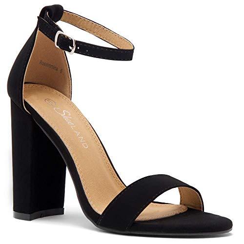 Herstyle Rosemmina Womens Open Toe Ankle Strap Chunky Block High Heel Dress Party Pump Sandals. BlackNuBuck 6.5