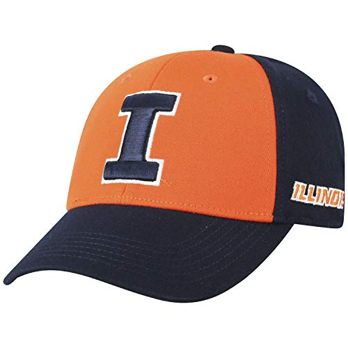 Top of the World NCAA-Premium Two Tone-One-Fit-Memory Fit-Hat Cap-Illinois Fighting Illini