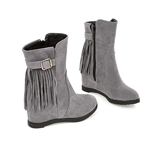Toe Tassel with Wedge Increased Lucksender Zip Womens Round Heel Grey Boots tS8wR