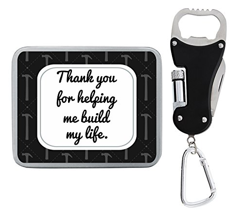 Father Day Gift Thank You for Helping Me Build My Life Father Daughter Gifts Birthday Gifts for Dad Fathers Day Gifts from Daughter Son Combo Bottle Opener Flashlight & Knife 3-in-1 Multitool Keychain