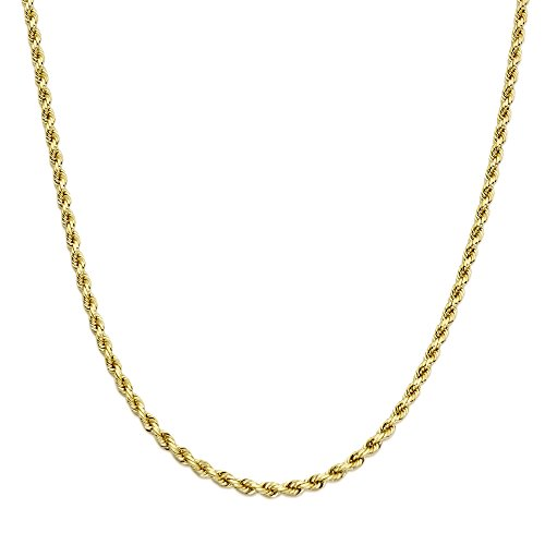 LoveBling 14K Yellow Gold 5mm Diamond Cut Rope Chain Necklace, Mens Womens with Lobster Lock (20) by LOVEBLING (Image #1)