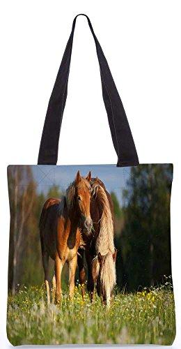 """Snoogg Paar Pferde Einkaufstasche 13,5 X 15 In """"Einkaufstasche Dienstprogramm Trage Von Polyester Canvas"""