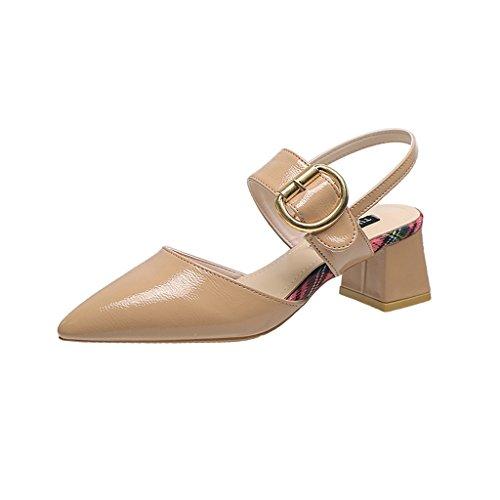 Sandaalit 2018 5cm Korkokengät Solki Rainbow Aprikoosi Naisille 5 Uutta Baotou Paksu Sana 1q0O7WOE
