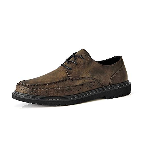 Hishoes Summer Brogue Shoes for Men Wingtip Oxfords Lace up Microfiber Leather British Style Perforated Business Formal Anti-Slip (Color : Khaki, Size : 9 M US)