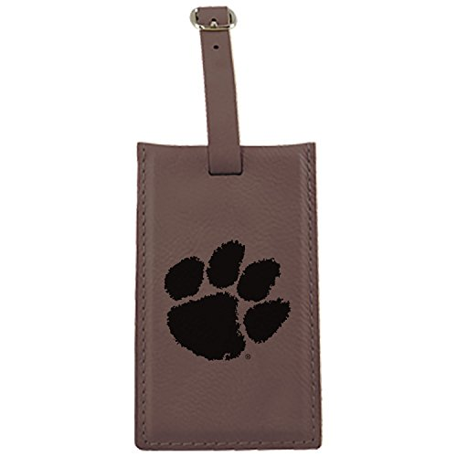 Clemson University -Leatherette Luggage Tag-Brown by LXG, Inc.