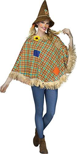 Fun World Women's Scarecrow Poncho, Multi, One Size -