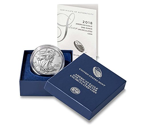 - 2018 W Silver Eagle 2018-W Burnished Silver Eagle W Mint Mark In Original Packaging $1 Brilliant Uncirculated US Mint SP