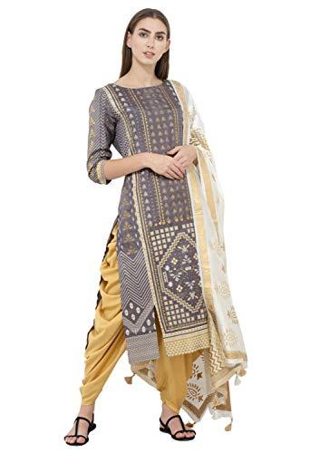 SABHYATA Womens Kurta Indian Kurtis for Women Casual Tunic Kurti Tops Long Dress (Medium, Metallic Grey 1810RS3) ()