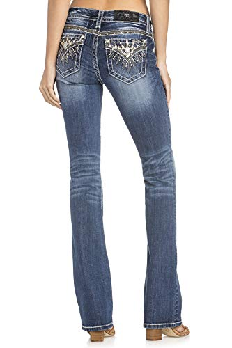 Bootcut Jeans Embellished Pocket - Miss Me Women's Sunburst Embellished Pocket Mid-Rise Boot Cut Jeans (Medium Blue, 30)