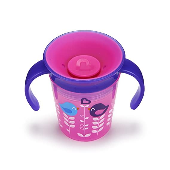 Munchkin Miracle 360 Degrees Deco Trainer Cup, 6 oz/177 ml, Pink Bird