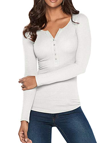 Dellytop Womens V Neck Henley Shirts Long Sleeve Button up Ribbed Basic Tops Tees